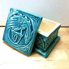 Celtic Dragon ceramic trinket box in by CelticValleyCeramics                                                                                                                                                                                 More