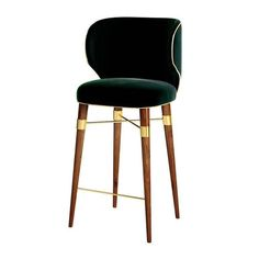 Louis Bar Chair Transitional, Wood, Upholstery Fabric, Leather, Barstools Counter Stool by Astele