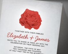 Trendy Floral Red And Black Wedding Invitation
