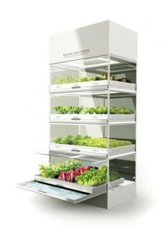 Hydroponic kitchen garden with built-in lighting and customizable nutrient controls. Since plants absorb carbon dioxide and emit oxygen, this Kitchen Nano Garden doubles as an air purifier.