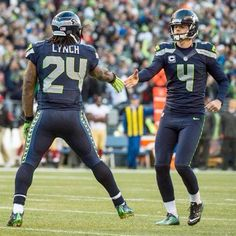 Marshawn Lynch #24 and Steven Haushka #4 Seattle Seahawks