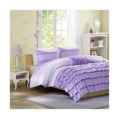 Lindsey 4 Piece Comforter Set - Purple ($75) ❤ liked on Polyvore