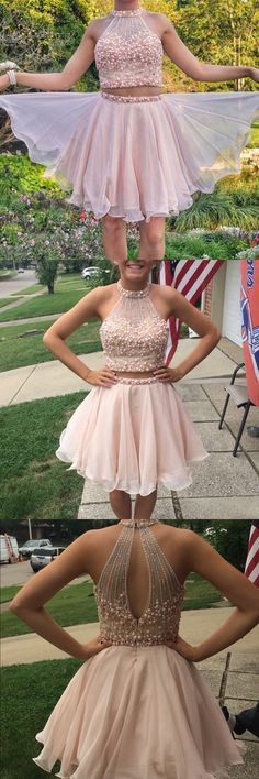 halter beaded two piece prom dress short,nude homecoming dress