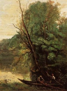 Learn more about Fishing with Nets, Evening Jean-Baptiste-Camille Corot - oil artwork, painted by one of the most celebrated masters in the history of art. Henri Fantin Latour, Barbizon School, Fishing Photography, Fabre, Fishing Adventure, Jean Baptiste, Art Database, French Art, Paris