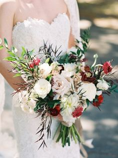 Romantic burgundy + cream bouquet: Photography : Simply Sarah Photography Read More on SMP: http://www.stylemepretty.com/2016/07/12/classic-savannah-wedding-at-bethesda-academy/