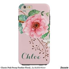 Classic Pink Peony Feather Floral Design Tough iPhone 6 Plus Case