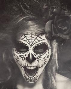 Amazing black and white sugar skull makeup! - 16 Day of the Dead Makeup Ideas