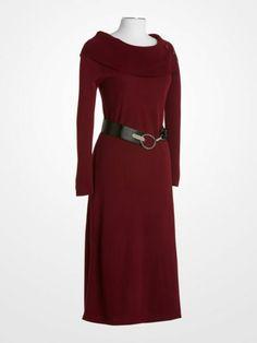 e29124e0fa2 Lennie for Nina Leonard Bordeaux A-Line Sweater Dress  39.99  red  burgundy   wine  belted  longsleeve  fall  winter  womens  style