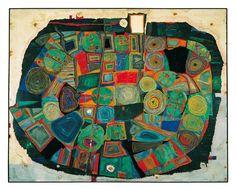 Friedensreich Hundertwasser: 170 'Der Garten der glücklichen Toten', St. Maurice/Seine, August 1953. Öl auf Hartfaserplatte, 47 x 58,5 cm; Sammlung Christian Baha. © 2012 NAMIDA AG, Glarus/Schweiz