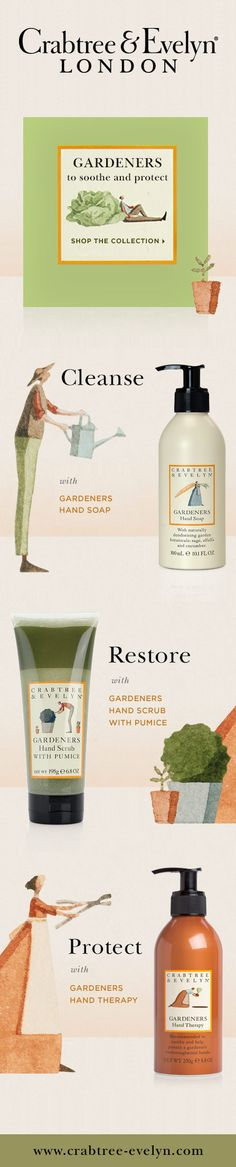 Get beautiful hands in three easy steps: Cleanse. Restore. Protect. Love all things Crabtree and Evelyn.