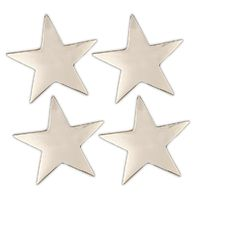 Set of 4 Decorative Polished Silver Five Point Silver Star Napkin Rings 1.5