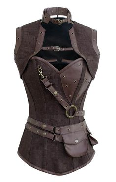 Corset marron steampunk avec boléro et ceinture avec pochette détachables