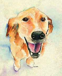 Bonnie the Golden Retriever. Watercolor & ink. By Dave Butler.