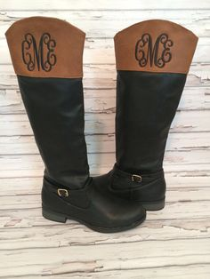 Love these! Size 9.5 Monogram Personalized Two Tone Black Brown by thepurplepetunia, $62.00