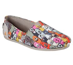">""..""<  SKECHERS  Happy hounds of all kinds gather together on the Skechers BOBS for Dogs Bobs Plush - Wag Party shoe. Soft woven textile upper with colorful cartoon dog face print design in a slip on casual comfort alpargata flat with Memory Foam insole. STYLE #: 34389 MLT #FavoriteMemoryFoam"