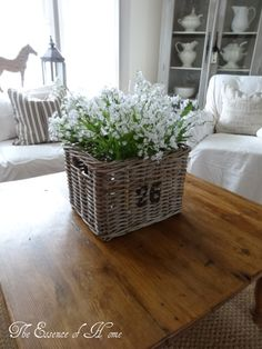 Basket full of white flowers from The Essence of Home
