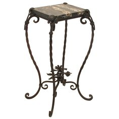 Iron and Marble Table/Plant Stand Wrought Iron and Marble Table/Plant Stand Nordic Sofa, Plant Table, Iron Plant, Small Coffee Table, Iron Table, Metal Flowers, Metal Furniture, Furniture Making, Wrought Iron