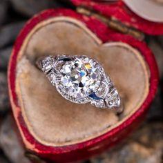 Circa Art Deco Engagement Ring Old European Cut Diamond Sku Diamond Rings With Price, Antique Diamond Rings, Deco Engagement Ring, Antique Engagement Rings, Art Deco Earrings, Art Deco Jewelry, Jewelry Box, Moissanite Diamond Rings, Victorian Jewelry