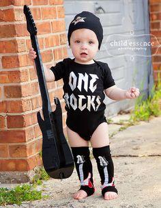First Birthdays Rock Bodysuit - The perfect birthday onesie for your little rock star 1st Birthday Shirts, Boy First Birthday, 1st Birthday Parties, Birthday Ideas, Rock And Roll Birthday, Rockstar Birthday, Rock Star Party, First Birthday Pictures, First Birthdays