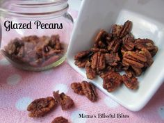 Glazed pecans are wonderful on a cheese plat w/ drinks, a yummy side and snack