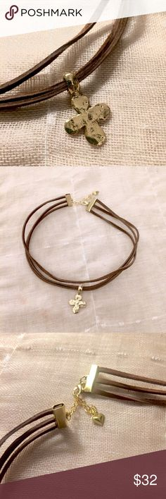 """3-Strand Genuine leather Chocker This new leather choker features three strands of flat premium leather at 13"""" in length with 3"""" raw brass claw extender, heart & lobster clasp. At the center is a 29 mmx18 mm,(1+1/8 X 3/4, hammered GOLD pewter, metal cross charm with rounded corners and a thick bail. 2 sided. Back looks the same as front. This choker lends itself to today's trendy bohemian style as as well as an old world look. The bail on the top has a 4mm inside diameter. Gorgeous everyday…"""