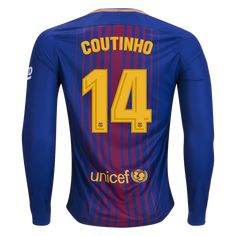 Philippe Coutinho Barcelona 17/18 Long Sleeve Home Jersey by Nike - WorldSoccershop.com | WORLDSOCCERSHOP.COM