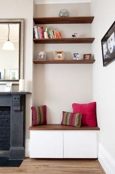 4 Wondrous Diy Ideas: How To Build Floating Shelves Bookcases farmhouse floating shelves sinks.Floating Shelves Nursery Decor single floating shelf home.White Floating Shelves With Lights. Alcove Ideas Living Room, Living Room Shelves, Living Room Storage, Home Living Room, Living Room Designs, Living Room Decor, Alcove Seating, Corner Seating, Bedroom Seating