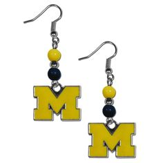"""Checkout our #LicensedGear products FREE SHIPPING + 10% OFF Coupon Code """"Official"""" Michigan Wolverines Fan Bead Dangle Earrings - Officially licensed College product Team colored beads Hypoallergenic fish hook posts Earrings hang approximately 2 inches Michigan Wolverines charm with enameled team colors - Price: $16.00. Buy now at https://officiallylicensedgear.com/michigan-wolverines-fan-bead-dangle-earrings-cbde36"""