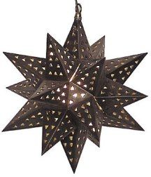 Hometown Evolution: Tin Star Lights, Hand Punched Tin star light with colored marbles