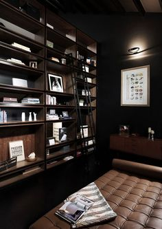 ♂ Masculine and contemporary dark home library corner space #dark #interior #masculine #library