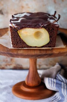 Chocolate Cinnamon Pear Loaf Cake by Naomi Robinson via bhg #Cake #Chocolate #Peaer