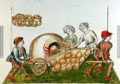 "15th c. portable pie oven. Wood fired baking oven from 1465-1475, ""A pie-baker"", Konzil von Konstanz ÖNB 3044, fol. 48v."