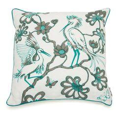 Florence Broadhurst - Egrets Topaz Feather Cushion | Peter's of Kensington