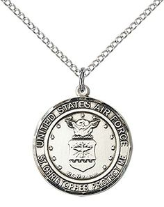 Sterling Silver AIR FORCEST CHRISTOPHER Pendant with 18 Stainless Steel Lite Curb Chain Patron Saint of TravelersMotorists * Be sure to check out this awesome product.