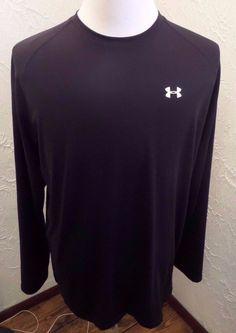 EUC MENS UA Under Armour HEAT GEAR LS -Shirt BLACK Sz LARGE #UnderArmour #HeatGearShirt
