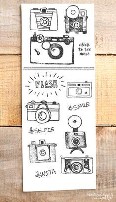 Vintage Cameras Black Ink Vintage Camera Graphics- perfect for photography logos! Camera Sketches, Art Sketches, Camera Drawing, Doodle Drawings, Doodle Art, Doodle Ideas, Camera Doodle, Tattoo Photography, Little Doodles