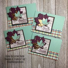 Beautiful cards with the Gather Together Bundle and Come to Gather Designer Series Paper Note Cards, Thank You Cards, Diy Craft Projects, Crafts, Hand Stamped Cards, Craft Cards, Fall Cards, Christmas 2019, Stampin Up Cards