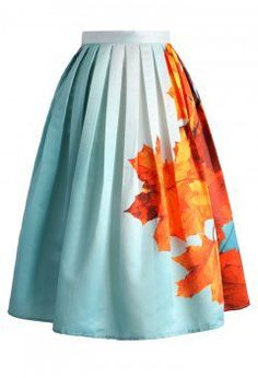 Maple Sky Printed Midi Skirt - CHICWISH SKIRT COLLECTION - Skirt - Bottoms - Retro, Indie and Unique Fashion