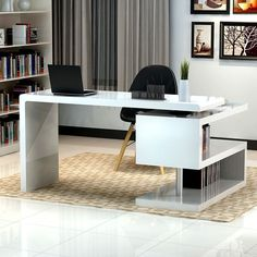 modern white desk with book shelves