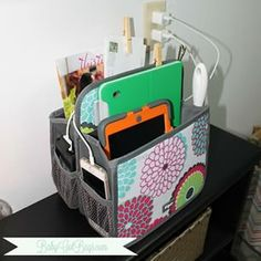 "The #ThirtyOne Double Duty Caddy ""doubles"" as a family charging station and landing zone! Mail, iPads, iPhones, tie clips, lint roller, gum and pens, it's all in this one handy spot! The #FlyLady would be so proud!!"
