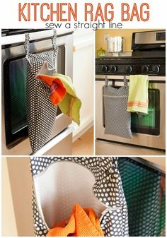 "Lined hanging ""hamper"" for dirty kitchen rags, bibs, dish clothes, and paper napkins. Full tutorial with lots of pictures. Also, link to rolled kitchen towel tutorial."