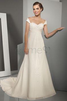 A Linie Chiffon gekappte Ärmel Göttin Brautkleider bodenlanges einfaches schulterfreies Brautkleid