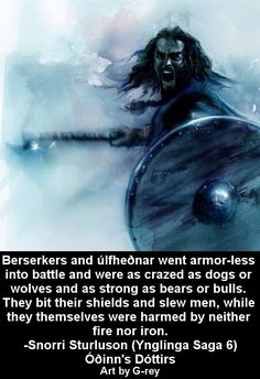 Berserker Viking by G-ReyArt on DeviantArt Norse Pagan, Old Norse, Norse Mythology, Viking Art, Viking Warrior, Viking Runes, Viking Ship, Vikings Time, Norse Vikings