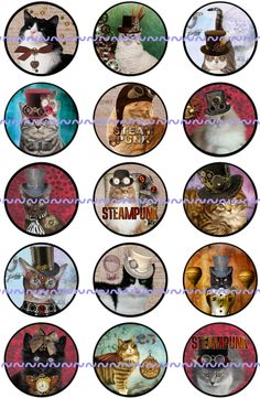 """Cat Magnets, Cat Pins, Steampunk Cat Magnets, Steampunk Cat Pins, Steampunk Cats, Steampunk Cat Favors, 1"""" Flat, Hollow Bk, Cabochons, 12ct by TheSteamPunkCatSlave on Etsy"""