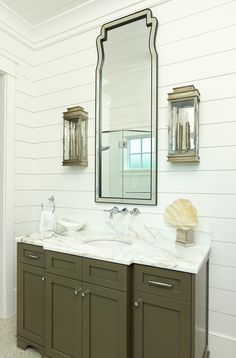 shiplap-siding-Bathroom-Tropical-with-classic-crown-molding-frame-and-panel-cabinets – cybball.com