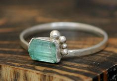 Stacking  Ring with Rough Specimen- Custom Made Custom Colour