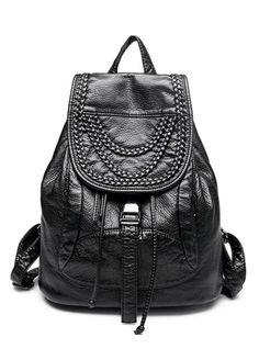 Casual Ladies Weaving Details Black PU Leather Backpacks