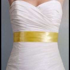 "Yellow Satin Bridal Sash 2"", Bridal Accessories Simple ribbon sash silky smooth, this is a high end bridal satin.  You will receive a 3 yard sash, long enough to tie a bow and let it hang down the back, or tie in front and finish with a lovely brooch. Message me about custom colors and samples. BridalShoppe Accessories"