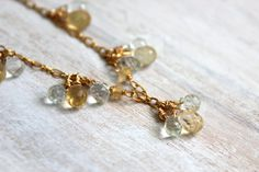 Citrine and Aquamarine Delicate Gold Necklace by SilverLilyJewelry, $110.00