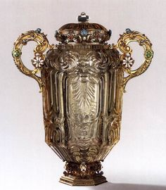 MISERONI, Dionysio  Vase with lid (Maienkrug)  1639-40  Smoky crystal, gilt bronze and silver, partly enamelled, height 38 cm  Liechtenstein Museum, Vienna